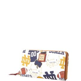 Notre Dame Large Zip Around Wristlet